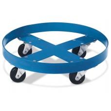 Fassroller aus Stahl, RAL 5010 (blau) lackiert, für 200-Liter-Fässer, mit 4 Lenkrollen