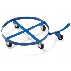 Fassroller aus Stahl, für 200-Liter-Fässer, mit Kippmechanik, 4 Lenkrollen, blau