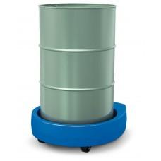 Fassroller Poly200 D aus Polyethylen (PE), mit Zugdeichsel, 2 Bockrollen, 2 Lenkrollen, blau