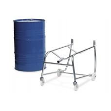 Fasskipper mit Hebelstange, aus Stahl, inkl. Rollenauflage und Auffangwanne, für 1 Fass à 200 Liter