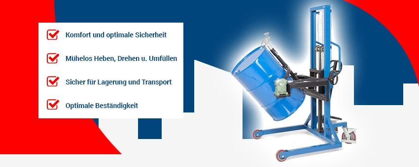Fasslifter - Für das einfache, aber sichere Verfahren und Heben von 200-l-Fässern auf Paletten oder Auffangwannen